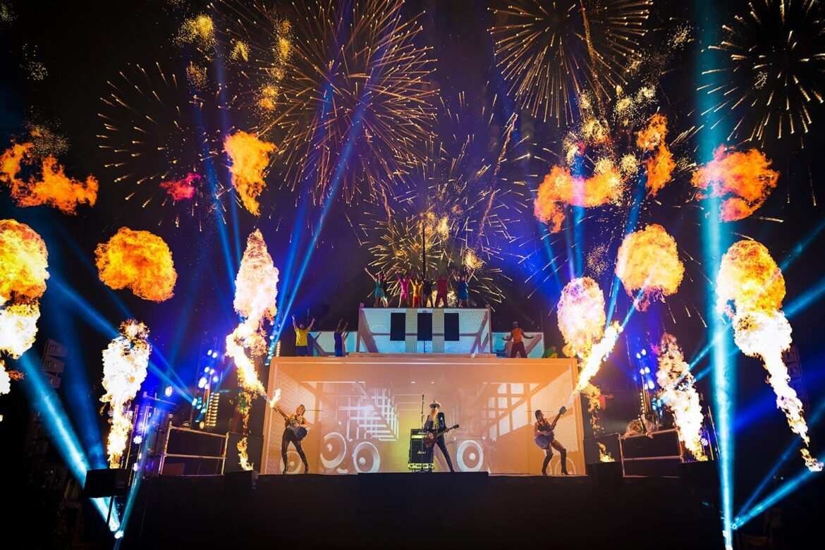 Cirque Bijou - A giant stage at Goodwood Festival of Speed explodes with flaming guitars, fireworks and ZZ Top