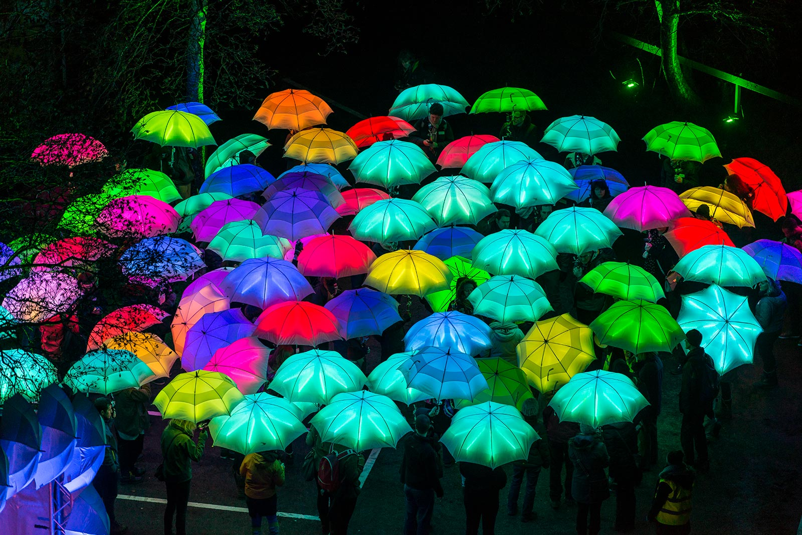 Cirque Bijou - A group of brightly coloured LED Umbrellas