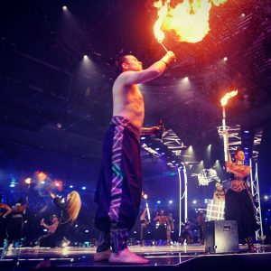 A performer gets ready to breathe fire at the MTV Europe Music Awards, Bilbao.