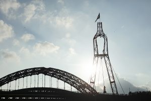 A landscape image of the Wearmouth Bridge with highwire platform in place. Portolan, Sunderland Tall Ships, Cirque Bijou. Image Dan Prince.