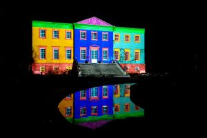 Multicolours projected on to front of the Dumfries House whilst testing out the projectors.